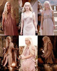 Daenerys targaryen season one costumes Daenerys Targaryen Aesthetic, Daenerys Targaryen Dress, Khaleesi, Narnia, Game Of Thrones Art, Caroline Forbes, Mother Of Dragons, Emilia Clarke, Pink Dress