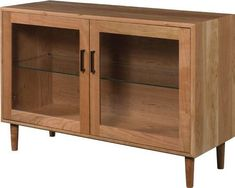 Amish Mid Century Modern Curio Console A cool addition to your modern style furniture. This curio has one adjustable glass shelf and interior touch lighting. #curiocabinet
