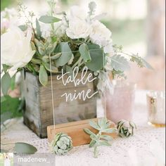 Have been researching perspex signs for an upcoming wedding and love these by @madenew_ with flowers by @hollyvilesdesign & caprured by @katiebethlamb Gorgeous! .  .  #wedding #tablenumbers #perspex #calligraphy #centrepiece #succulents #weddinginspiration    #Regram via @weddinghelperuk)