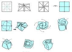 Origami Step By Step Instructions Of A Rose Origami Magic Rose Cube, Easy Origami Rose, Paper Origami Flowers, Origami Leaves, Origami Flowers Tutorial, Origami Swan, Cute Origami, Kids Origami, Origami Dragon