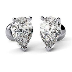 Shop Carat Cushion Cut Diamond Stud Solitaire Earrings Solid White Gold 1 Pair for Christmas Gifts, Black Friday Sale, Thanksgiving Gifts. Solitaire Earrings, Women's Earrings, Diamond Studs, Heart Ring, White Gold, Engagement Rings, Crystals, Stuff To Buy, Accessories