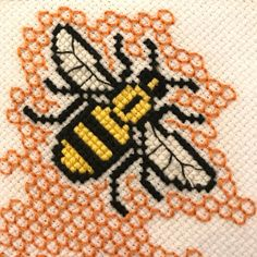 Items similar to Completed cross stitch Manchester bee on Etsy Kawaii Cross Stitch, Just Cross Stitch, Cross Stitch Kits, Cross Stitch Charts, Funny Cross Stitch Patterns, Cross Stitch Designs, Bee Embroidery, Cross Stitch Embroidery, Cross Stitch Silhouette