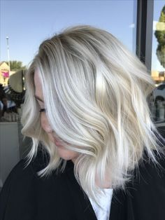 MId length dimensional platinum blonde by Kathy Nunez