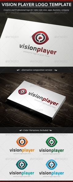 Vision Player Logo Template — Vector EPS #logo #black • Available here → https://graphicriver.net/item/vision-player-logo-template/4785644?ref=pxcr