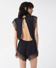 Lace jumpsuit - New In - Winter SALE 2016 trends in women fashion at Oysho online. Find lingerie, pyjamas, slippers, nighties, gowns, fluffy, maternity, sportswear, shoes, accessories, body shapers, beachwear and swimsuits & bikinis.