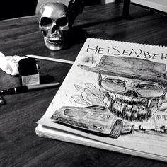 #heisemberg #walter #white #breakingbad #fanart #art #drawing #illustration #design #skull #pen #fountainpen #davidemartini www.davidemartini.ink