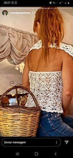 Vanessa Montoro, Men Sweater, Sweaters For Women, Off Shoulder Blouse, Tunic Tops, Crochet Woman, Crochet Tops, Knitting, Clothes