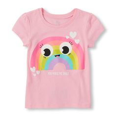 Image for Toddler Girls Short Sleeve 'You Make Me Smile' Rainbow Face Graphic Tee from The Children's Place