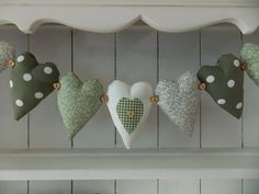 Items similar to 7 HEART BUNTING garland in green florals, polka dots and gingham with hearts and buttons, decoration, Christmas, decoration on Etsy Diy Christmas Bunting, Christmas Diy, Bunting Garland, Garlands, Fabric Hearts, Hanging Hearts, Making Ideas, Banners, Florals