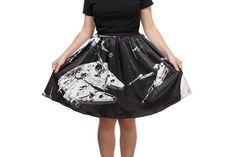 Women's Her Universe x Star Wars Space Collage printed skirt at ThinkGeek ⭐️ Star Wars fashion ⭐️ Geek Fashion ⭐️ Star Wars Style ⭐️ Geek Chic ⭐️
