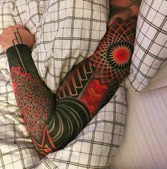 Tattoo Sleeve – black and red man's tattoo sleeve – tattoo sleeve Red Tattoos, Body Art Tattoos, Tribal Tattoos, Tattoos For Guys, Cool Tattoos, Pretty Tattoos, Maori Tattoos, Blackout Tattoo, Mangas Tattoo