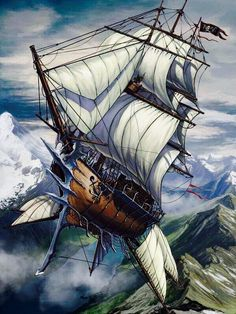Steampunk ship add the double dirigibles below and it works Steampunk Ship, Steampunk Kunst, Steampunk Pirate, Flying Ship, Flying Boat, Diesel Punk, Fantasy Kunst, Fantasy Art, Science Fiction
