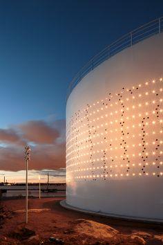 Kruunuvuorenrannan Öljysäiliö 468 - Lights over Kuurunuvuorenranta light installation in a used oil tank in Helsinki, Finland.