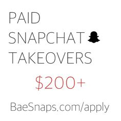 We Pay You $200 for A Snapchat Takeover! Girls if your Interested  Apply on our Site ( Link is in Bio ) Girls Only. by iteasers