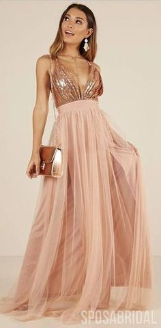Charming Rose Gold Sequin and Tulle Long Spaghetti Straps Simple Prom Dresses, Bridesmaid Dresses, Evening Dresses, Prom Dresses, Formal Dresses, Wedding Dresses, Beaded Prom Dress, Vestido Rose Gold, Rose Gold Wedding Dress, Rose Gold Dresses, Rose Gold Bridesmaid Dresses