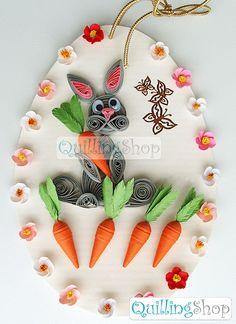 Quillingshop: Пасхальная открытка заяц с морковками в технике квиллинг