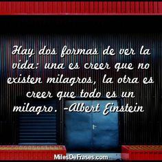 Hay dos formas de ver la vida: una es creer que no existen milagros la otra es creer que todo es un milagro. -Albert Einstein