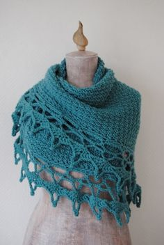 I can see one of my blue pins on this one. Knit shawl, crochet edging