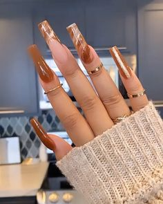 Brown Acrylic Nails, Bling Acrylic Nails, Aycrlic Nails, Summer Acrylic Nails, Best Acrylic Nails, Swag Nails, Edgy Nails, Grunge Nails, Brown Nails