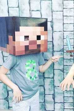 Fooling around at a party photo booth is such a laugh, and what a better way to have fun at a Minecraft party than with some awesome Steve and Creeper heads! Kids are going to love cos-playing as their favorite Minecraft characters! See more party ideas and share yours at CatchMyParty.com
