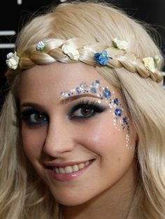 pixie lott, makeup, flower braid, face paint, smile