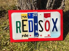 RED SOX Custom Recycled License Plate Art Sign by CustomPlateArt4U, $27.00