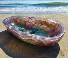 The Purple Onyx Wabi Vessel Sink by Stone Forest is carved from precious stone that hasn't been sourced in 2 years (Image: Angela Morin) Dream Bathrooms, Beautiful Bathrooms, Outdoor Bathrooms, Crystal Furniture, Deco Cool, Appartement Design, Interior Decorating, Interior Design, Design Design