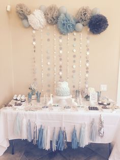 Gray and blue themes baby shower, and candy table Christening Table Decorations, Baby Shower Decorations For Boys, Baby Shower Themes, Baby Shower Candy Table, Office Baby Showers, Grey Baby Shower, Christening Party, Projects To Try, Sweet 16