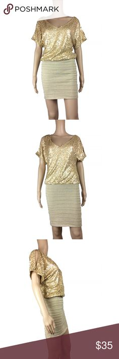 🎀SALE🎀 AS U WISH sequin cold shoulder dress AS U WISH sequin dress. Open back. Slits on either sleeve. Skirt part is a thick, metallic stretch skirt. Not see through in any sense. Can be shimmied up or down to wear it slouchy or form fitting. Size small. Mannequin is 5'8. As U Wish Dresses