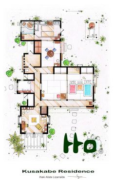 "This floorplan is an adaptation of the (temporal) residence of the Kusakabe family featured in the 1988 film ""My neighbour Totoro"" by Hayao Miyazaki. Kusakabe Residence from 'Tonari no Totoro' film Plans Architecture, Japanese Architecture, Film Home, Home Tv, My Home Design, House Design, Planer Layout, Floor Plan Drawing, Floor Plan Sketch"
