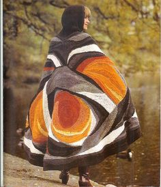 Freeform crochet cape, published in a Dutch seventies book.