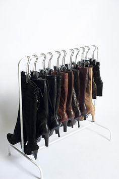 Store your boots in style! The Boot Rack™ is the perfect home for your favorite fashion footwear. The versatile free-standing design can be tucked away in a closet or placed elsewhere as stand-alone s