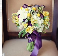 White, Yellow, and Purple Bouquet - this is very lush and pretty, with some purple sprinkled throughout..