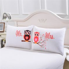 Mr and Mrs Owls Romantic Pillow Case     Tag a friend who would love this!     FREE Shipping Worldwide     Buy one here---> https://www.cancoot.com/mr-and-mrs-owls-romantic-pillow-case/