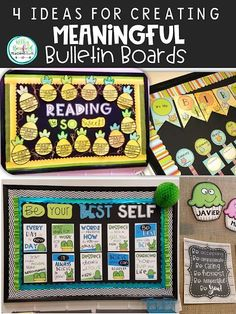 Find ideas for creating bulletin boards that are meaningful and will last the entire school year. Don't stress over bulletin boards! Grammar Bulletin Boards, Objective Bulletin Board, Elementary Bulletin Boards, Reading Bulletin Boards, Winter Bulletin Boards, Preschool Bulletin Boards, Elementary Library, Art Classroom, Upper Elementary