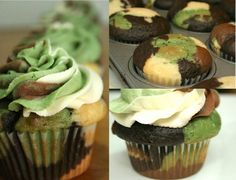 Camo cupcakes I just made for my husband's birthday. I think they turned out pretty nice! | Funny Pictures, Quotes, Pics, Photos, Images. Videos of Really Very Cute animals.