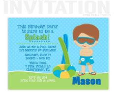 Boys Pool Party Invitation  Pool  Swim Party Ideas