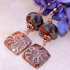 Copper Ammonite Chocolate Lampwork Earrings Handmade by Shadow Dog Designs