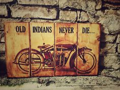 Excited to share the latest addition to my #etsy shop: Vintage Indian Powerplus Motorcycle Wooden Picture Home Decor Wall Decor Garage Art
