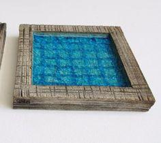 blue ceramic square ashtray - decorative plate blue and grey
