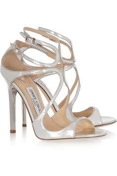 Mirrored heel measures approximately 115mm/ 4.5 inches Silver leather Round toe Buckle fastenings at ankle straps
