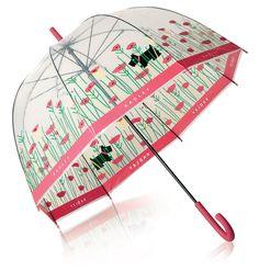 Radley pink handle poppy umbrella - Radley Poppyfields Walker umbrella. ladies walker umbrella made by Radley London. Its not just designer bags Radley make, Radley's umbrellas are loved by many