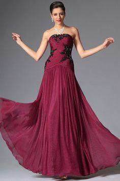Strapless Beaded Lace Applique Floor Length Evening Dress (00148312) - USD 197.14