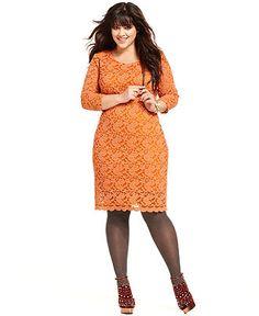 American Rag Plus Size Dress, Three-Quarter-Sleeve Lace - Plus Size Dresses - Plus Sizes - Macy's