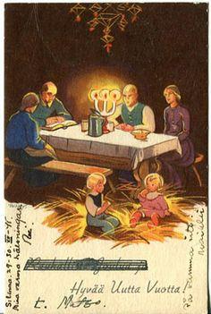 Martta Wendelin Carl Larsson, Fairytale Art, Vintage Postcards, Storyboard, Martini, Illustrators, Fairy Tales, Christmas Cards, Illustration Art