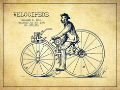 Bicycle Patent Poster featuring the drawing Velocipede Patent Drawing From 1882…