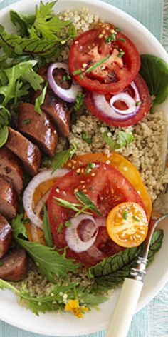 Tomatoes with Sausage and Green Goddess Dressing  - Cooking with quinoa doesn't have to be confusing. Try these meals for a healthy dose of whole grains.