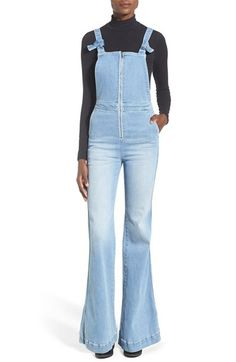 Rolla's 'East Coast' Front Zip Flare Overalls (Byron Blue)