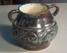 Hand thrown carved stoneware pot with handles by LindaMarshPottery, $15.00