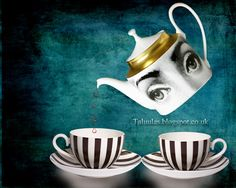 (Limited Edition on Canvas - in. Morning Coffe, Blue Tones, Tea Pots, Digital Prints, Alice, Palette, Canvas Prints, Black And White